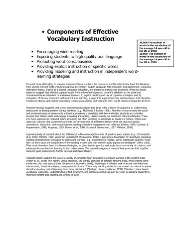 • Components of Effective Vocabulary Instruction