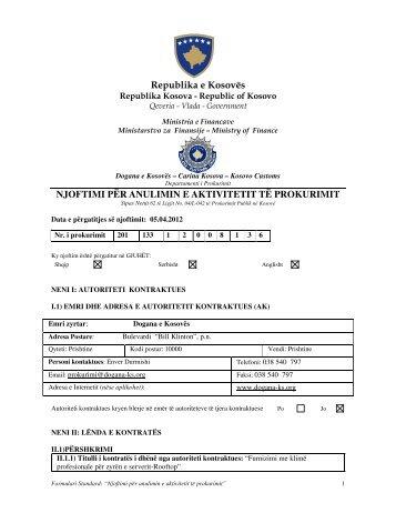 njoftimi për anulimin e aktivitetit të prokurimit - Dogana e Kosovës