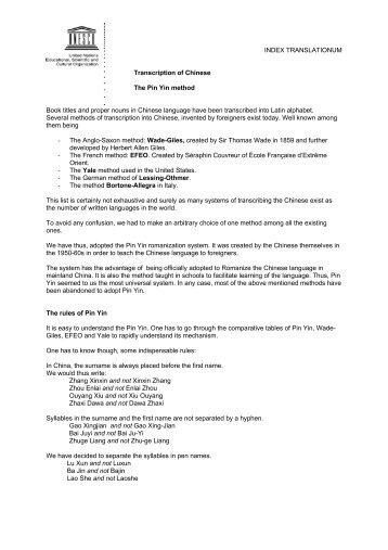 INDEX TRANSLATIONUM Transcription of Chinese The ... - Unesco