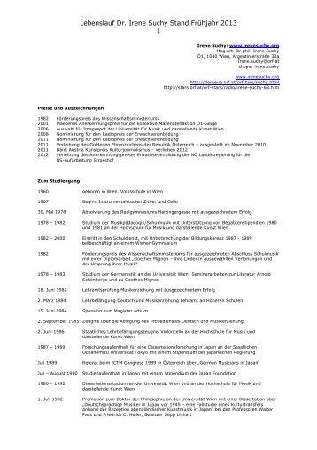 Lebenslauf Dr. Irene Suchy Stand Frühjahr 2013 1