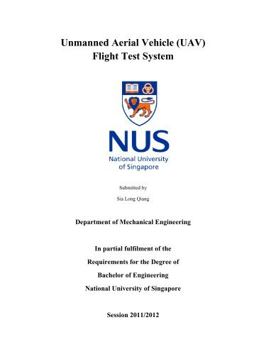 Unmanned Aerial Vehicle (UAV) Flight Test System - NUS - Home