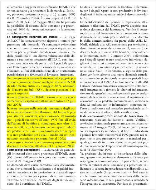 Amianto: nuova domanda per il riconoscimento dei benefici ... - Filbi