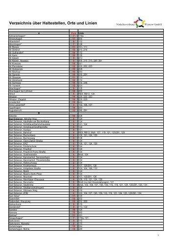 Verzeichnis über Haltestellen, Orte und Linien - Verkehrsverbund ...