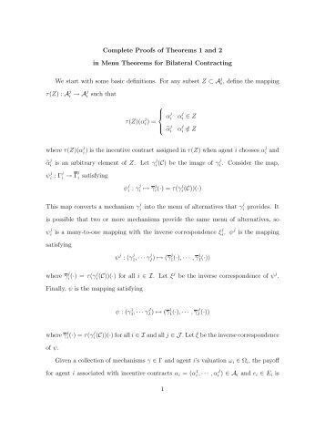 Complete Proofs of Theorems 1 and 2 in Menu Theorems for ...
