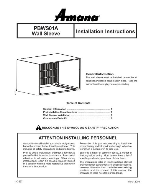 PBWS01A Wall Sleeve Installation Instructions - Amana PTAC on nfw7300ww amana front-loading washer diagram, amana ptac repair parts diagram, trane ptac parts diagram, amana dryer wiring diagram, whirlpool refrigerator wiring diagram, amana refrigerator parts,