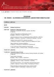 program xiii. česko – slovenská konference laboratorní hematologie