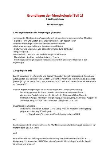 Grundlagen der Morphologie [Teil 1] - Wolfgang Schulze