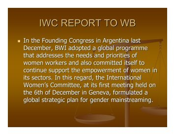 IWC REPORT TO WB - bwint.org