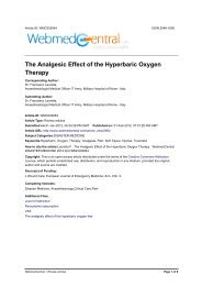 The Analgesic Effect of the Hyperbaric Oxygen Therapy
