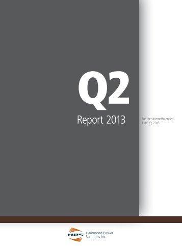 Q2 Interim Report - Hammond Power Solutions