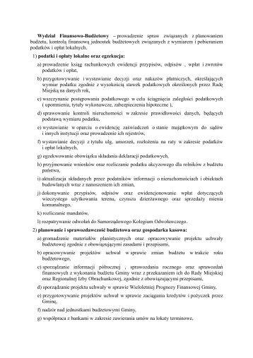 Wydział Finansowo-Budżetowy – prowadzenie spraw związanych z ...