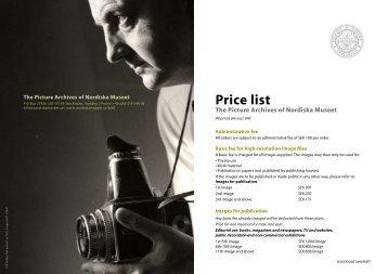 Price list - Nordiska museet