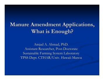 Manure Amendment Applications, What is Enough? - ctahr