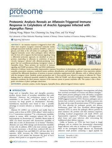 Proteomic Analysis Reveals an Aflatoxin-Triggered Immune ...