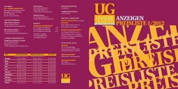 ANZEIGEN PREISLISTE 1/2012