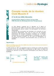 Compte rendu de la réunion Club Muscle II - Institut de Myologie