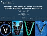 "Exchanges under Health Care Reform and ""Private ... - Venable LLP"