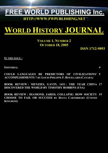 world history journal - volume 1, number 2 (18 october 2005)