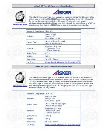 Asker® Durometers - Corporate Consulting, Service & Instruments Inc.