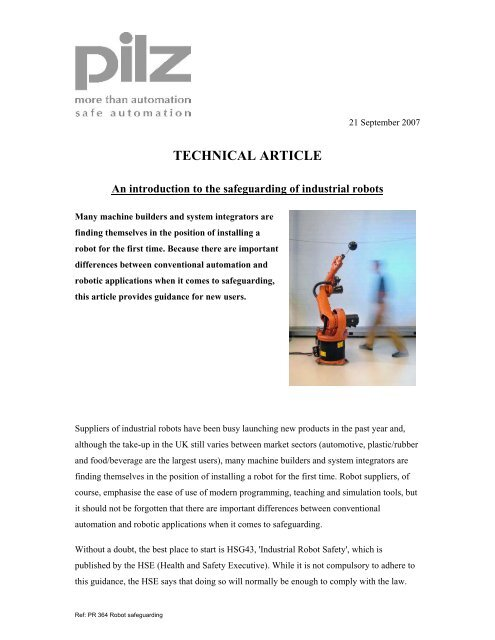TECHNICAL ARTICLE - British Automation & Robot Association