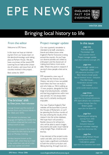 EPE News - Winter 2006 - Victoria County History