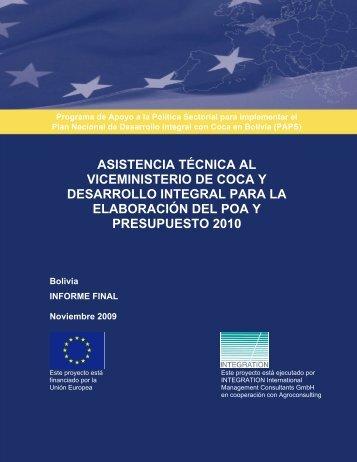 Asistencia al Viceministerio de Coca y Desarrollo Integral para la ...