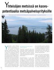 hteisöjen metsissä on kasvu- potentiaalia metsäpalveluyrityksille - TTS