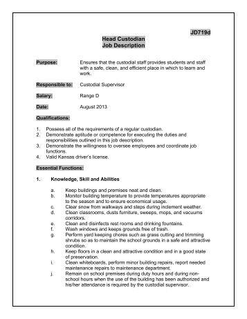 Custodian job description
