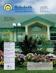 April 2007 Issue No. 99 - Rehoboth Christian Ministries