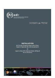 dossier de presseARCADE - Arcade Provence-Alpes-Côte d'Azur