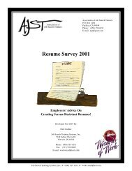 AJST Resume Survey 2001 - UC Davis / Internship and Career Center