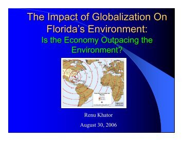 The Impact of Globalization On Florida's Environment: