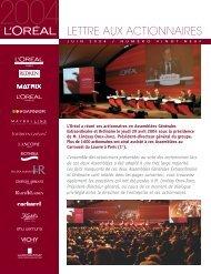 Lettre aux actionnaires n° 29, Juin 2004 - L'Oréal Finance