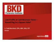 Lost Profits or Lost Business Value – Round Peg in a Square ... - BKD