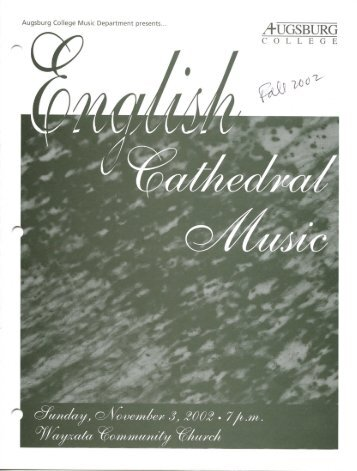 English Cathedral Music – Fall 2002 - Augsburg College