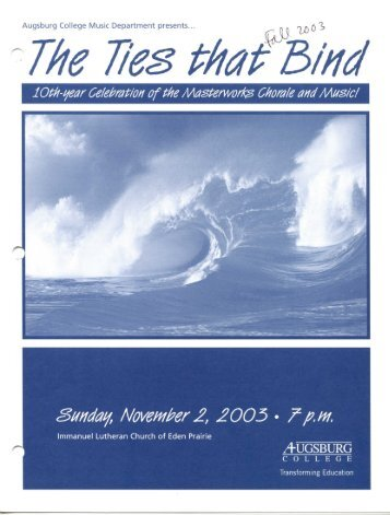 The Ties that Bind – Fall 2003 - Augsburg College