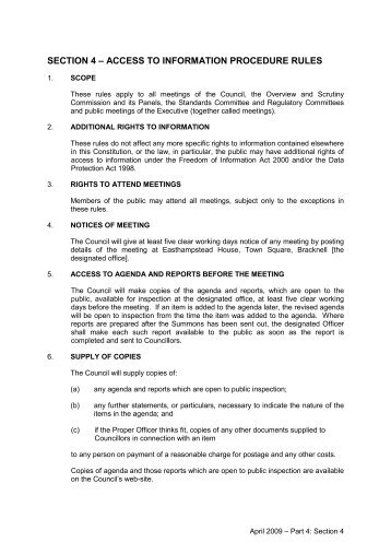 section 4 – access to information procedure rules - Meetings ...