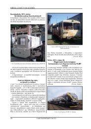 HÍREK A VASÚT VILÁGÁBÓL VASÚTGÉPÉSZET 2012/2 20