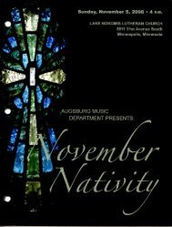 November Nativity – Fall 2006 - Augsburg College