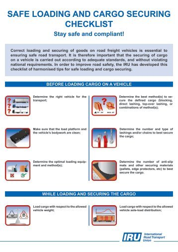safe loading and cargo securing checklist - iru - UNECE
