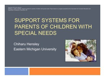 Support Systems for Parents of Children With Special Needs