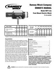 Ramsey Winch Company OWNER'S MANUAL