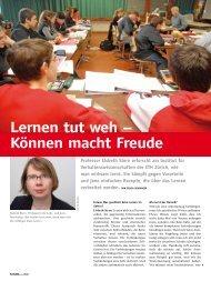 Lernen tut weh – Können macht Freude - IFVLL - ETH Zürich
