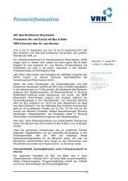 VRN Pressemitteilung - VRN Verkehrsverbund Rhein-Neckar