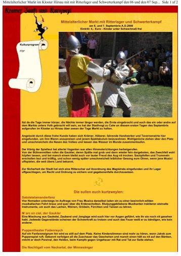 Mittelalterlicher Markt mit Ritterlager und Schwerterkampf Die sullen ...