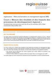 Mesure des résultats et des impacts des processus de ... - Regiosuisse