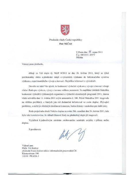 Odpověď předsedy RVVI, premiéra Petra Nečase - SKIP