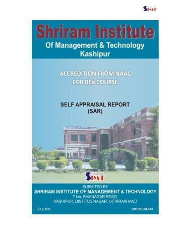 NAAC SAR Report - Shriram Institute of Management & Technology