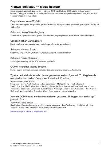 Nieuwe legislatuur = nieuw bestuur - Gemeente Langemark ...