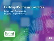 Enabling IPv6 on your network - Belnet - Events